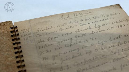 The original journal describing how the Goldenberg couple survives the Titanic disaster.